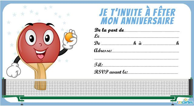 Invitation anniversaire tennis de table 123 cartes - Telecharger table financiere gratuitement ...