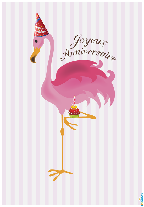 Carte Anniversaire Flamant rose