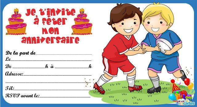 Invitation Anniversaire Rugby 123cartes