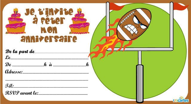 Super Invitation anniversaire Rugby - 123 cartes US09