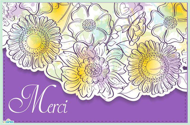 Carte Merci Débordement de fleurs