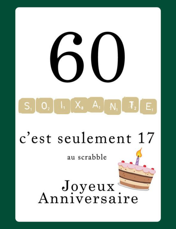 Favorit Carte anniversaire Scrabble 60 ans - 123 cartes AD45