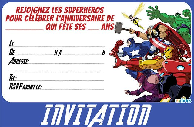 Favori Invitation anniversaire Avengers - 123 cartes NZ11