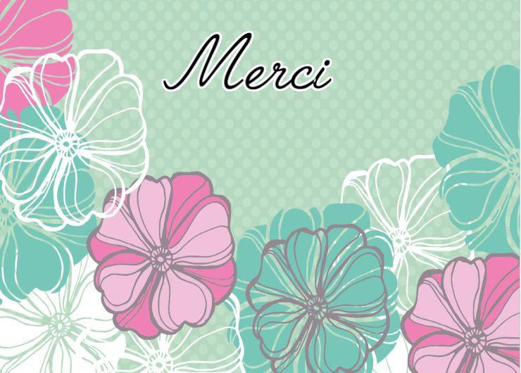 Carte Merci Esquisse de fleurs
