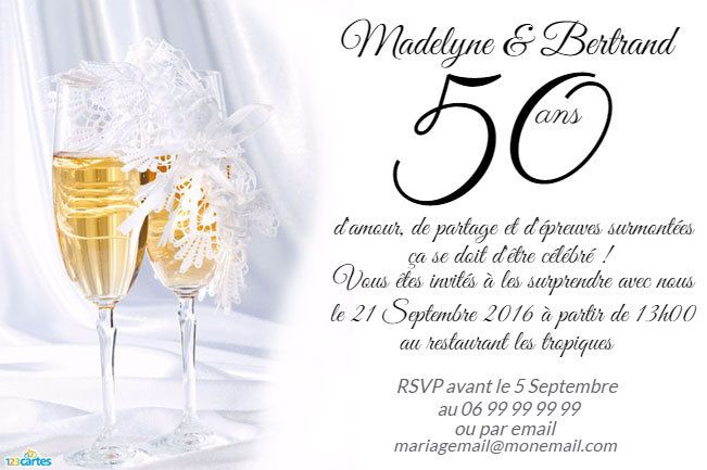 Fabuleux Invitation anniversaire Mariage - 123 cartes AS37