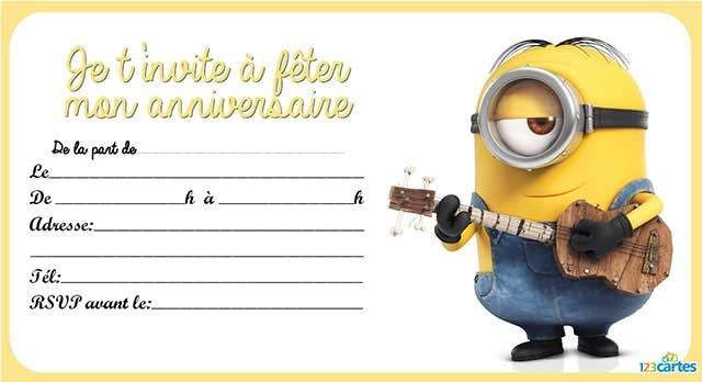 invitation anniversaire les minions 123 cartes. Black Bedroom Furniture Sets. Home Design Ideas