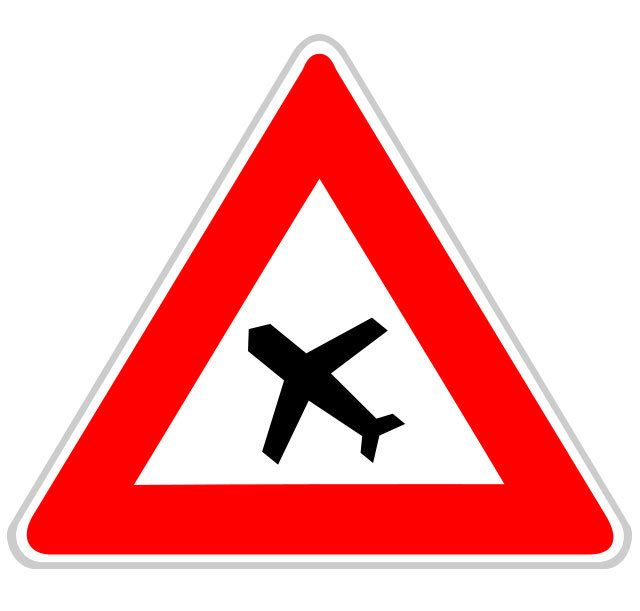 Panneau traversée d'une aire de danger aérien