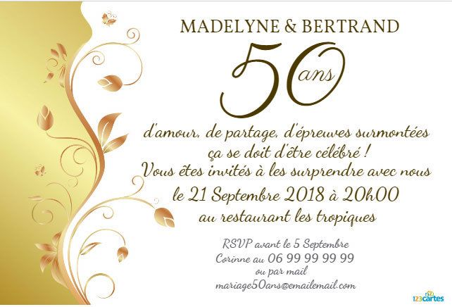 invitation anniversaire mariage plante d 39 or 123 cartes. Black Bedroom Furniture Sets. Home Design Ideas