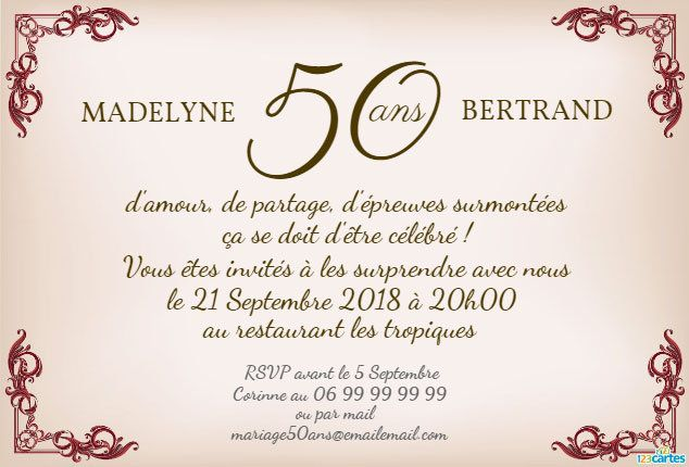 modele invitation 50 ans de mariage gratuit document online. Black Bedroom Furniture Sets. Home Design Ideas