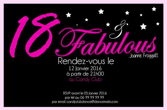 Connu Invitation anniversaire 18 ans and fabulous - 123 cartes OE74