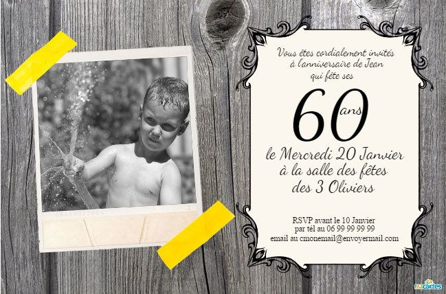 invitation anniversaire 60 ans bois rustique 123cartes. Black Bedroom Furniture Sets. Home Design Ideas