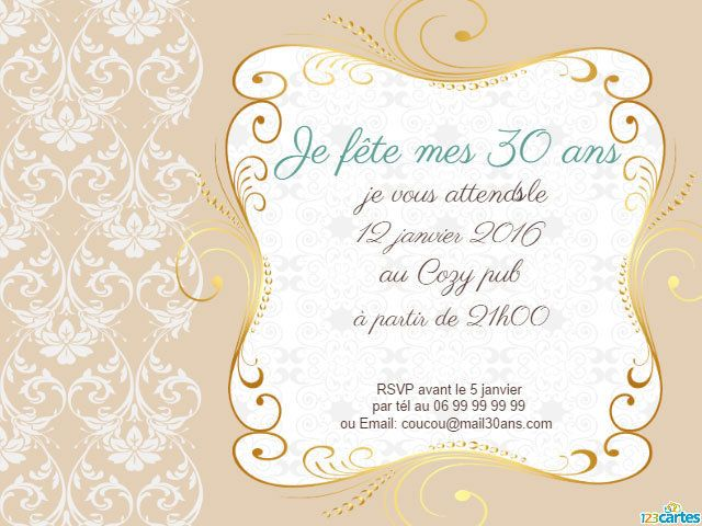 invitation anniversaire 30 ans d co florale dor e 123cartes. Black Bedroom Furniture Sets. Home Design Ideas