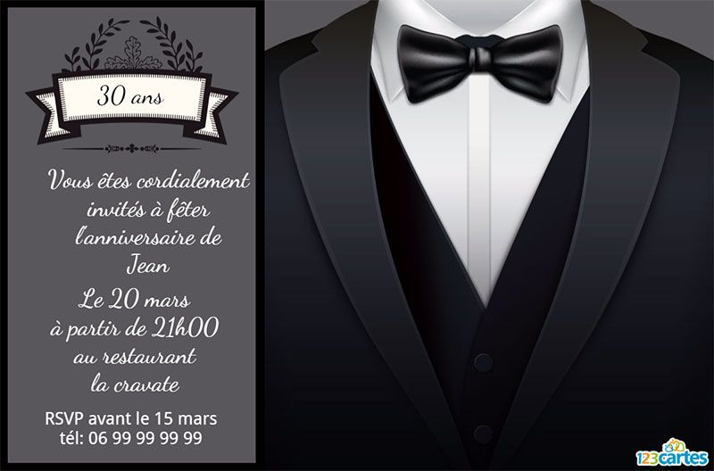 invitation anniversaire 30 ans n ud papillon 123cartes. Black Bedroom Furniture Sets. Home Design Ideas