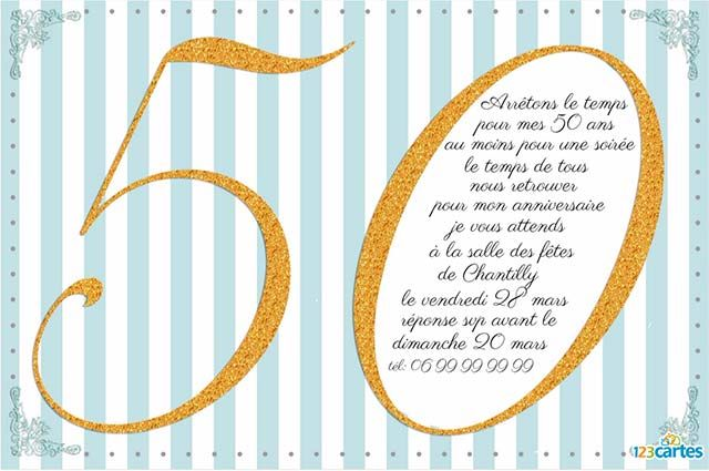 texte invitation anniversaire 50 ans 123 cartes. Black Bedroom Furniture Sets. Home Design Ideas