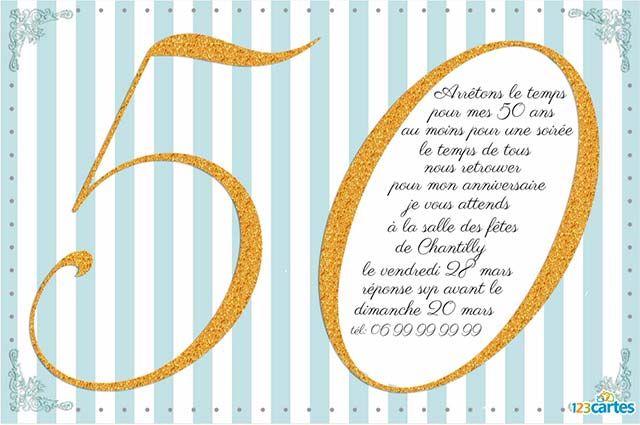 50ans invitation anniversaire pailleté or