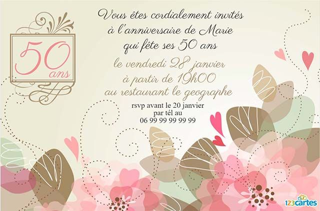 50 ans cartes et invitations gratuites 123 cartes. Black Bedroom Furniture Sets. Home Design Ideas