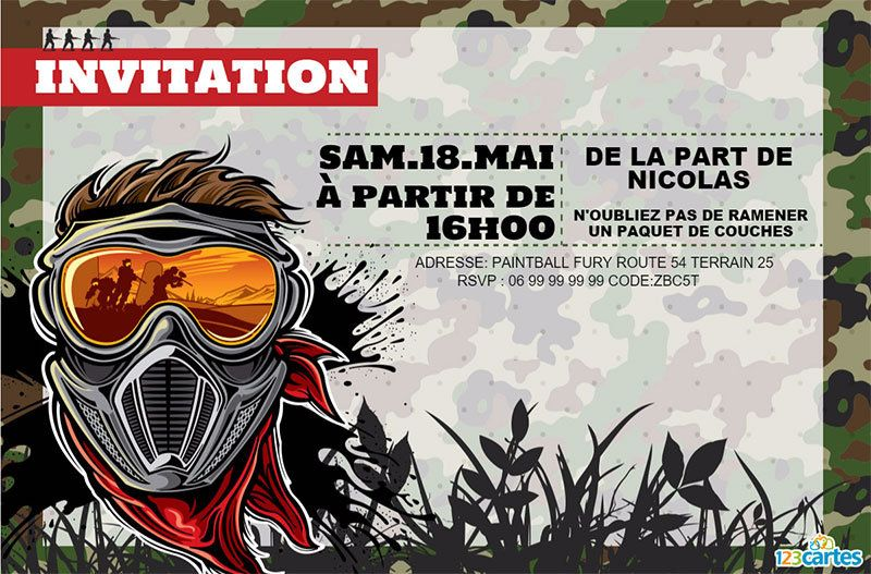 paintball fury invitation