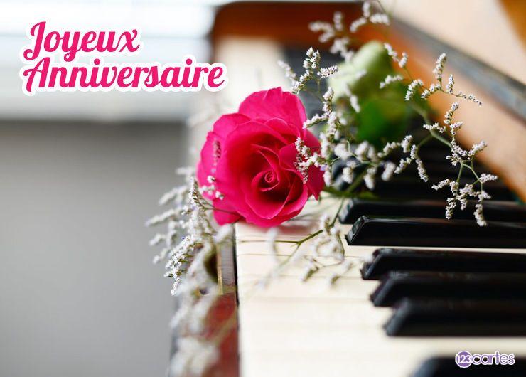 Carte anniversaire le piano et la rose