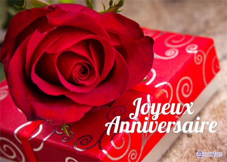 Carte anniversaire rose et cadeau