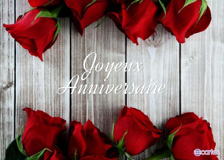 Carte anniversaire roses alignées