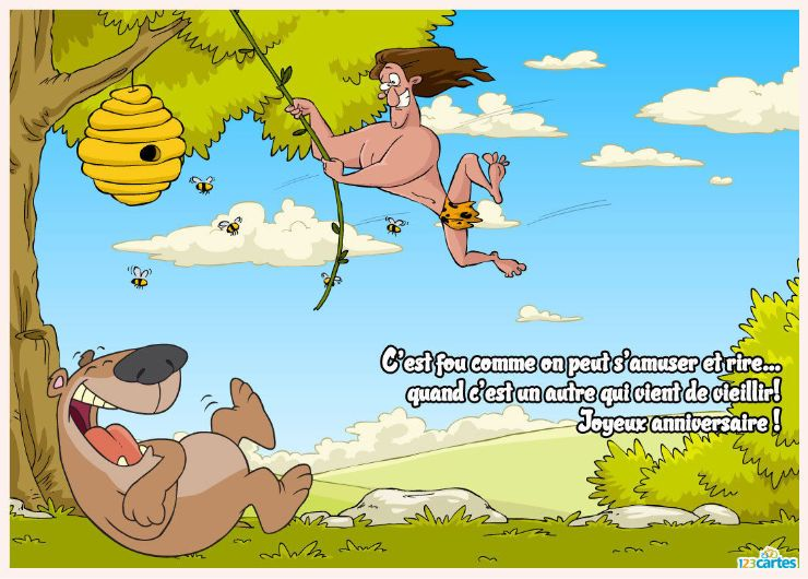 tarzan accroché à une corde qui se dirige droit vers un nid d'abeille et un ours qui se moque de lui