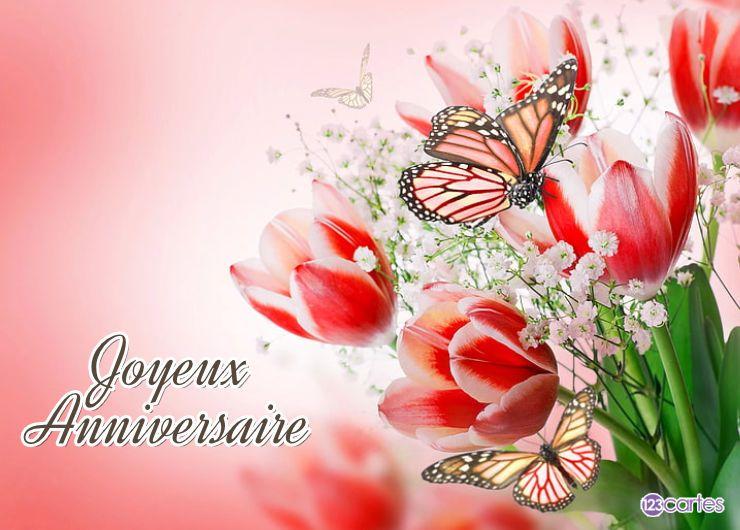 plusieurs tulipes et papillons