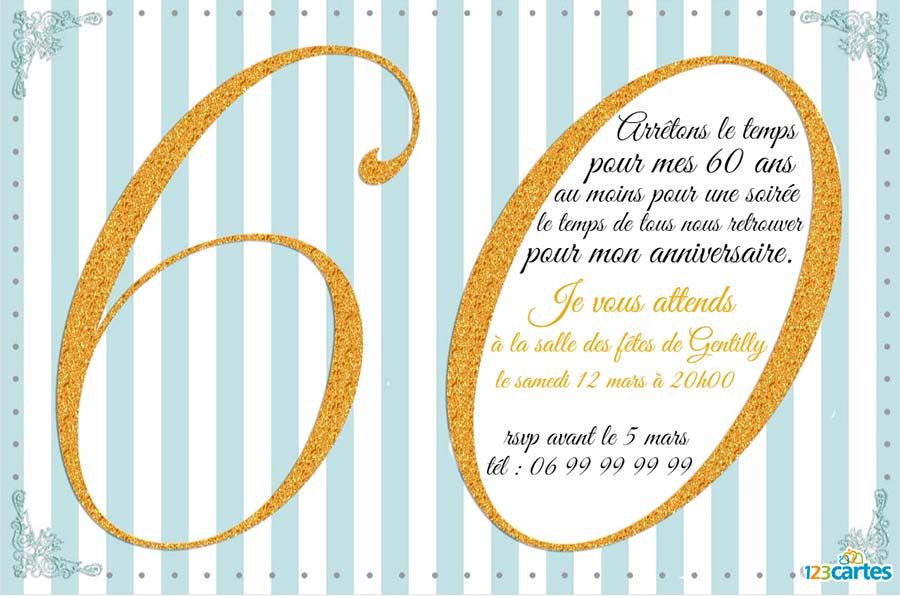 invitation anniversaire 60 ans avec effet paillet or 123 cartes. Black Bedroom Furniture Sets. Home Design Ideas