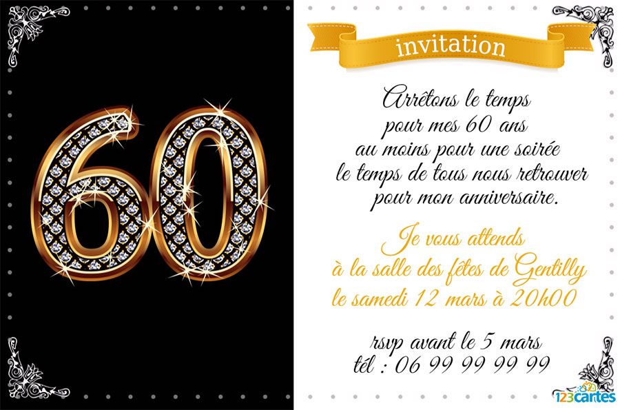 Top Invitation anniversaire 60 ans diamants - 123 cartes IJ99