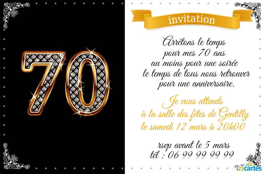 invitation anniversaire 70 ans diamants 123cartes. Black Bedroom Furniture Sets. Home Design Ideas