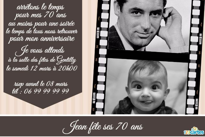Souvent Invitation anniversaire 70 ans Pellicule photo - 123 cartes SU48