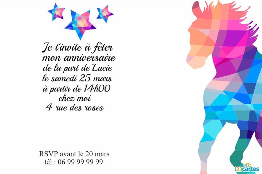 Populaire Invitation anniversaire Cheval au couleurs de diamants - 123 cartes ZR91