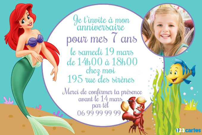 Invitation anniversaire princesse ariel invitation