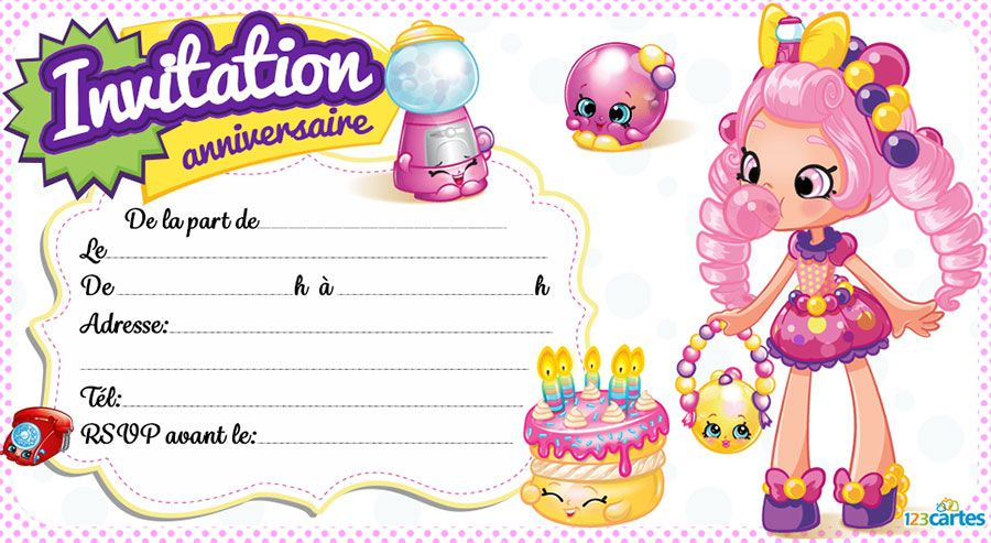 Relativ Invitation anniversaire Shopkins - 123 cartes DN97