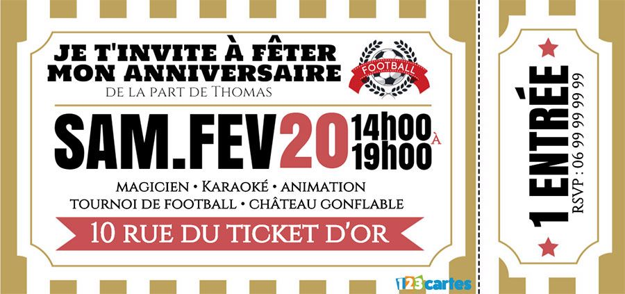 Turbo Invitation anniversaire Ticket football or - 123 cartes YX87