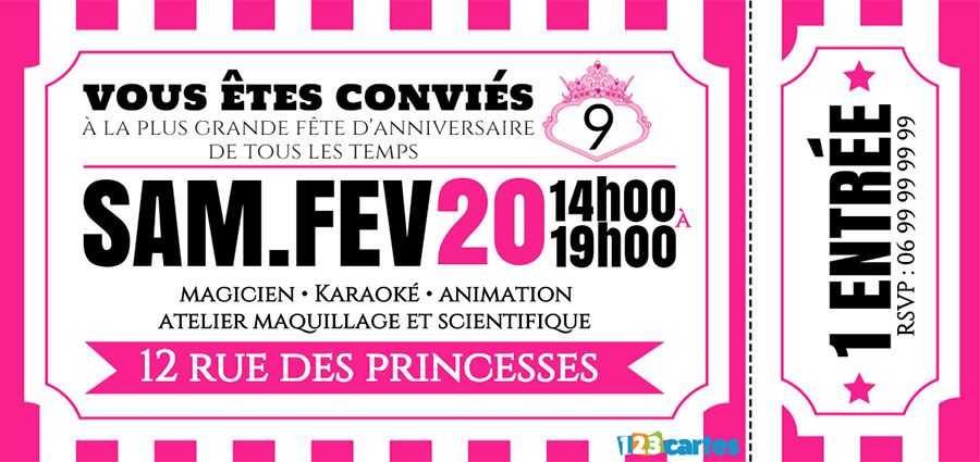 Super Invitation anniversaire Ticket princesse - 123 cartes YL66