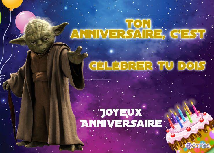 Yoda message drôle - carte joyeux anniversaire