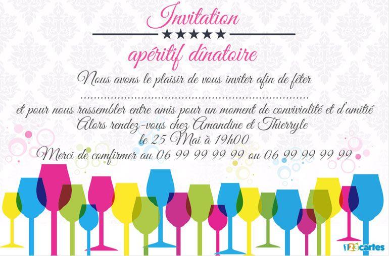 invitation apéro dînatoire verres multicolores
