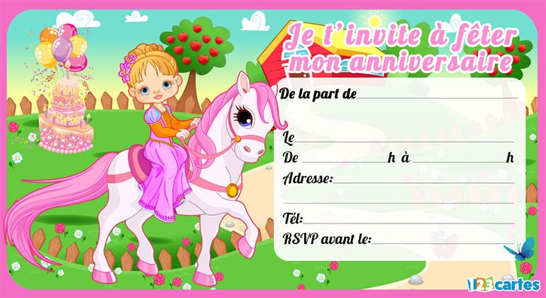poney invitation fille