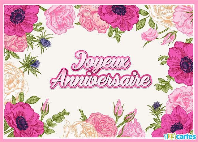 Carte joyeux anniversaire cadre fleuri