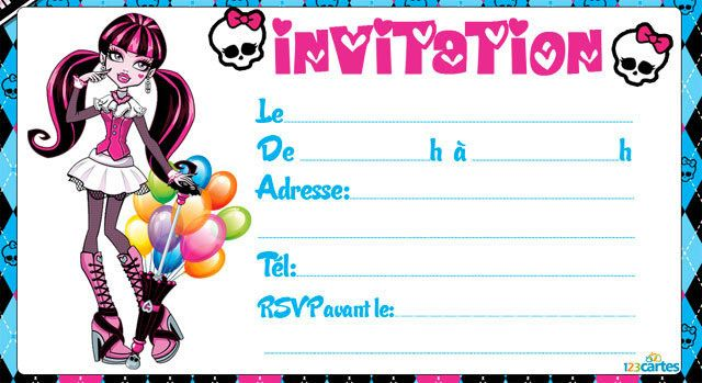 invitation anniversaire draculaura monter-high