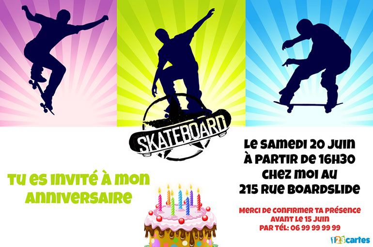invitation anniversaire skateboard