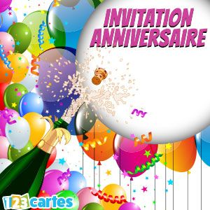 invitations anniversaire gratuites imprimer 123cartes. Black Bedroom Furniture Sets. Home Design Ideas