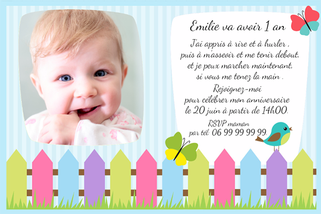 invitation bébé 1 an