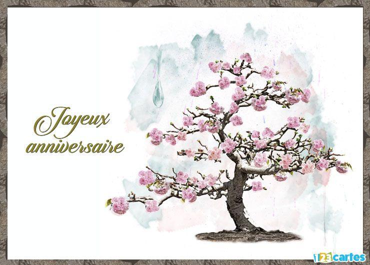 carte joyeux anniversaire aquarelle arbre à fleurs roses