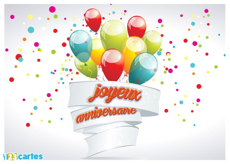 Carte joyeux anniversaire bouquet de ballons
