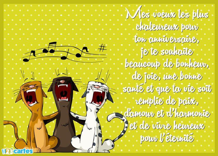 carte anniversaire les chats qui chantent