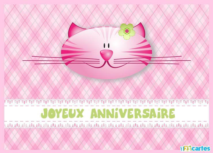 carte joyeux anniversaire le chat rose