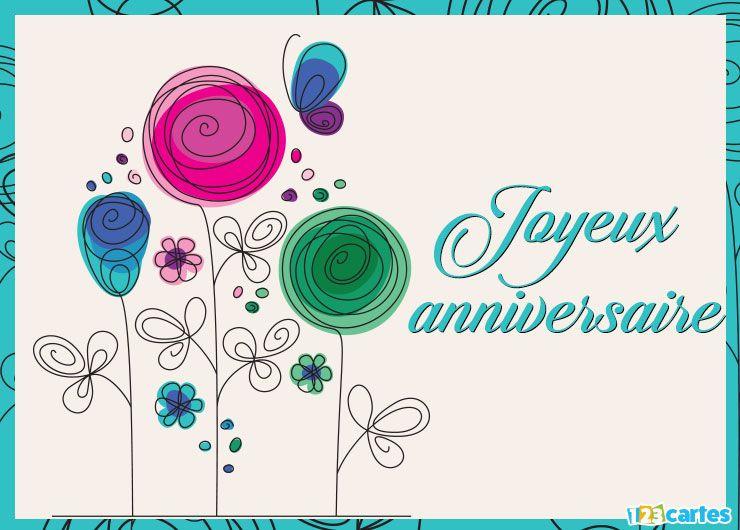 Carte joyeux anniversaire dessin de fleurs