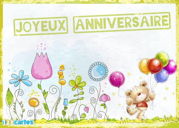 différentes fleurs, ours en peluche qui tient des ballons gonflables