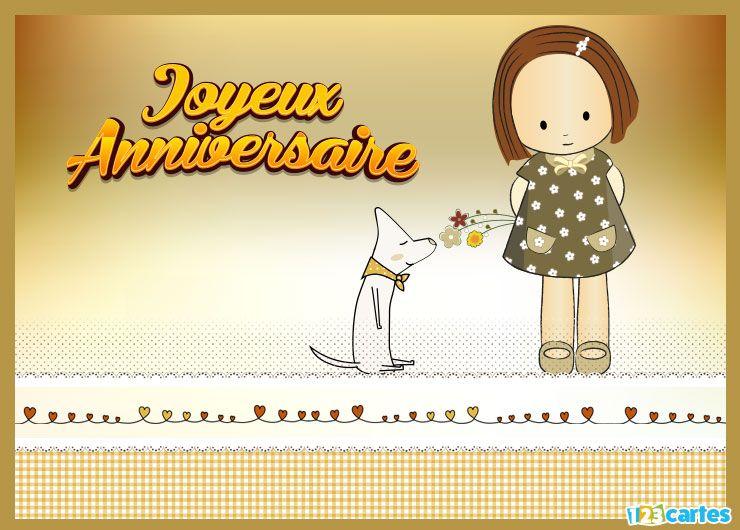 Carte anniversaire petite fille en robe fleurie